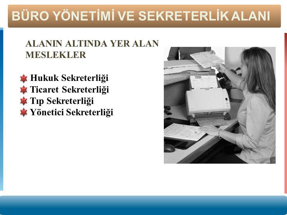 ALANIN ALTINDA YER ALAN MESLEKLER Hukuk Sekreterliği Ticaret Sekreterliği Tıp Sekreterliği Yönetici Sekreterliği BÜRO YÖNETİMİ VE SEKRETERLİK ALANI