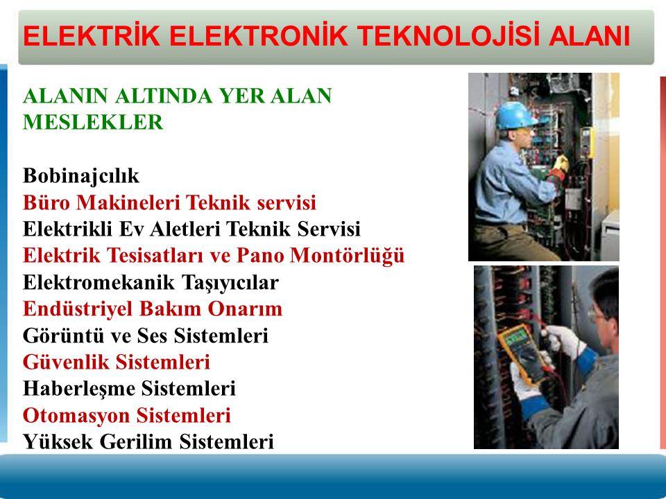 ELEKTRİK ELEKTRONİK TEKNOLOJİSİ ALANI ALANIN ALTINDA YER ALAN MESLEKLER Bobinajcılık Büro Makineleri Teknik servisi Elektrikli Ev Aletleri Teknik Serv