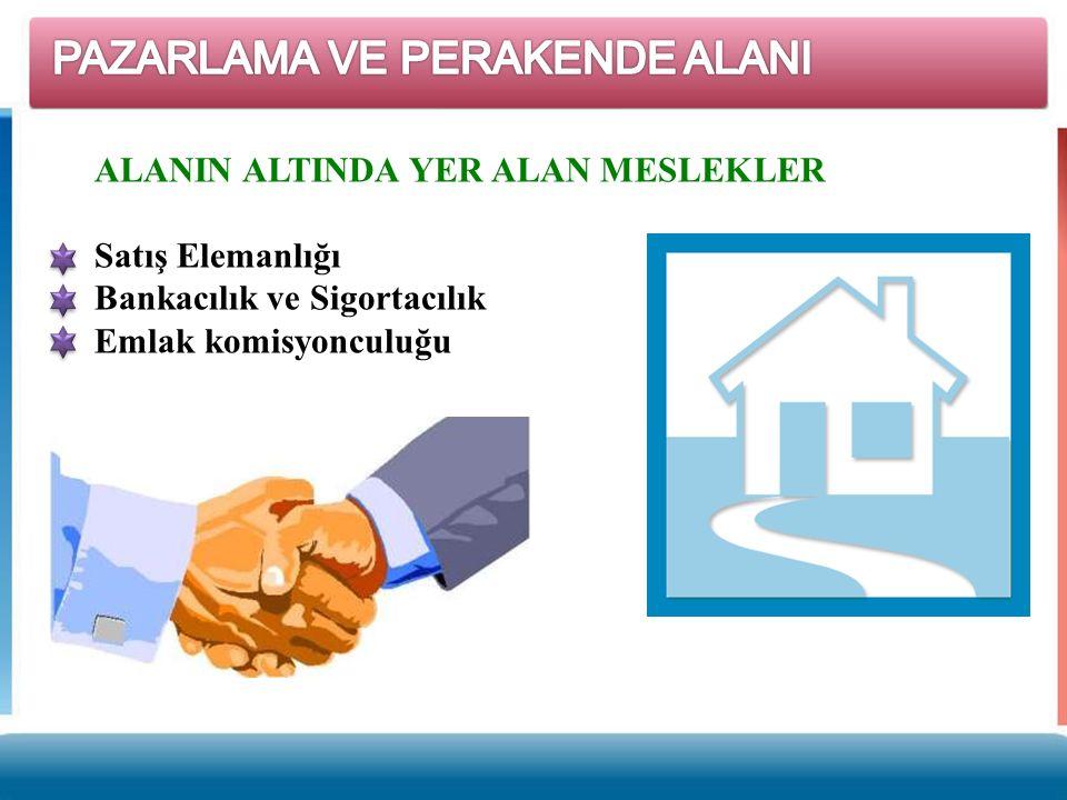 ALANIN ALTINDA YER ALAN MESLEKLER Satış Elemanlığı Bankacılık ve Sigortacılık Emlak komisyonculuğu