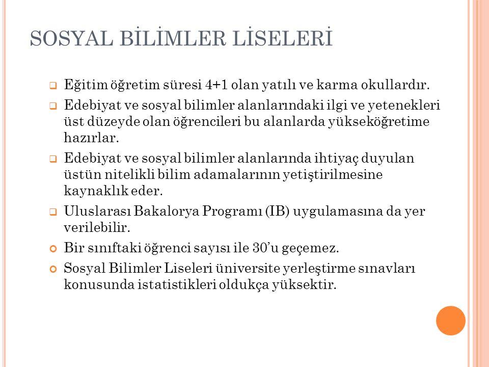 SOSYAL BİLİMLER LİSESİ ERCİŞ SOSYAL BİLİMLER LİSESİ407 KIZ/ERKEK 90 KARMA