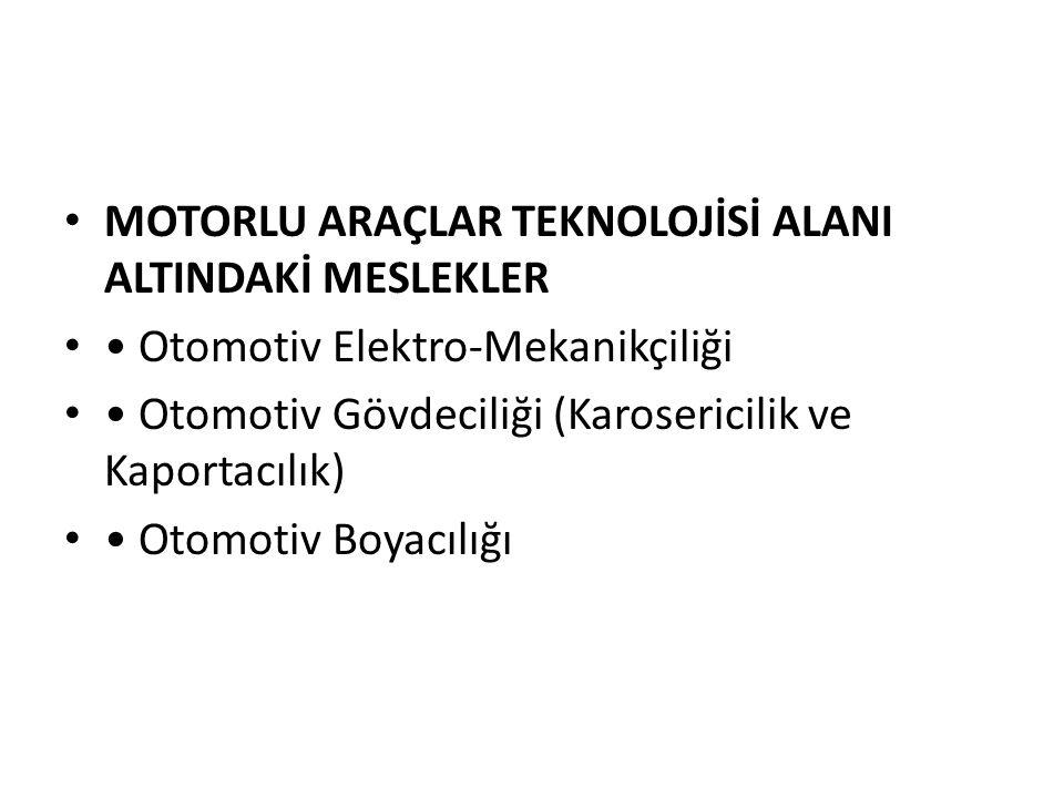 MOTORLU ARAÇLAR TEKNOLOJİSİ ALANI ALTINDAKİ MESLEKLER Otomotiv Elektro-Mekanikçiliği Otomotiv Gövdeciliği (Karosericilik ve Kaportacılık) Otomotiv Boy