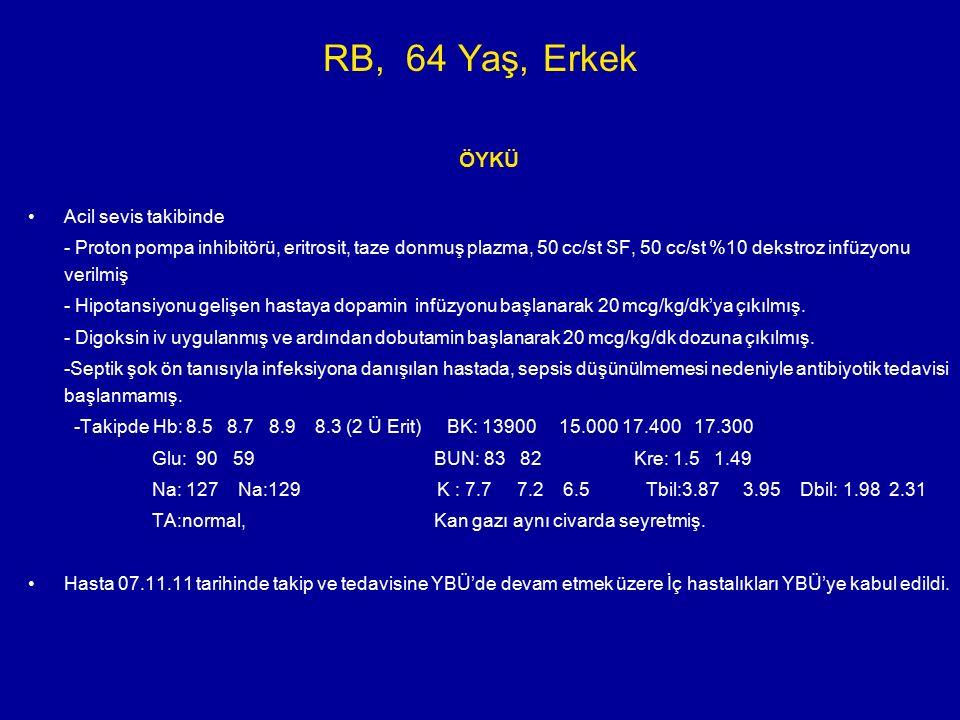 RB, 64 Yaş, Erkek ÖYKÜ YBÜ kabülünde FM:Genel durum orta, hasta letarjik ve konfuze, rezervuarlı oksijen maskesi ile oksijen alıyor.