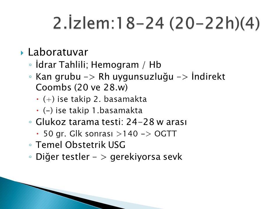  Laboratuvar ◦ İdrar Tahlili; Hemogram / Hb ◦ Kan grubu -> Rh uygunsuzluğu -> İndirekt Coombs (20 ve 28.w)  (+) ise takip 2.