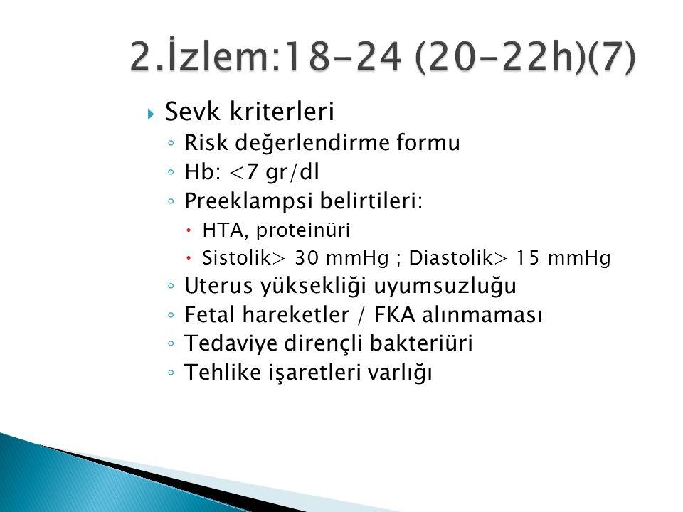  Sevk kriterleri ◦ Risk değerlendirme formu ◦ Hb: <7 gr/dl ◦ Preeklampsi belirtileri:  HTA, proteinüri  Sistolik> 30 mmHg ; Diastolik> 15 mmHg ◦ Uterus yüksekliği uyumsuzluğu ◦ Fetal hareketler / FKA alınmaması ◦ Tedaviye dirençli bakteriüri ◦ Tehlike işaretleri varlığı