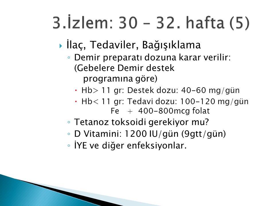  İlaç, Tedaviler, Bağışıklama ◦ Demir preparatı dozuna karar verilir: (Gebelere Demir destek programına göre)  Hb> 11 gr: Destek dozu: 40-60 mg/gün  Hb< 11 gr: Tedavi dozu: 100-120 mg/gün Fe + 400-800mcg folat ◦ Tetanoz toksoidi gerekiyor mu.