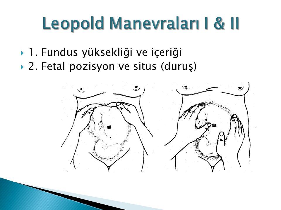  1. Fundus yüksekliği ve içeriği  2. Fetal pozisyon ve situs (duruş)