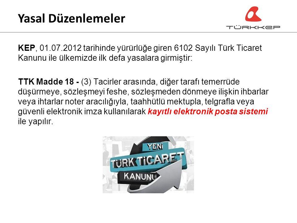 KEP, 01.07.2012 tarihinde yürürlüğe giren 6102 Sayılı Türk Ticaret Kanunu ile ülkemizde ilk defa yasalara girmiştir: TTK Madde 18 - (3) Tacirler arasında, diğer tarafı temerrüde düşürmeye, sözleşmeyi feshe, sözleşmeden dönmeye ilişkin ihbarlar veya ihtarlar noter aracılığıyla, taahhütlü mektupla, telgrafla veya güvenli elektronik imza kullanılarak kayıtlı elektronik posta sistemi ile yapılır.