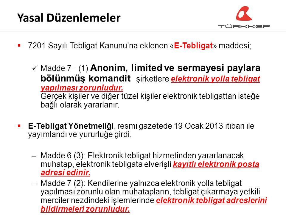  7201 Sayılı Tebligat Kanunu'na eklenen «E-Tebligat» maddesi; Madde 7 - (1) Anonim, limited ve sermayesi paylara bölünmüş komandit şirketlere elektronik yolla tebligat yapılması zorunludur.