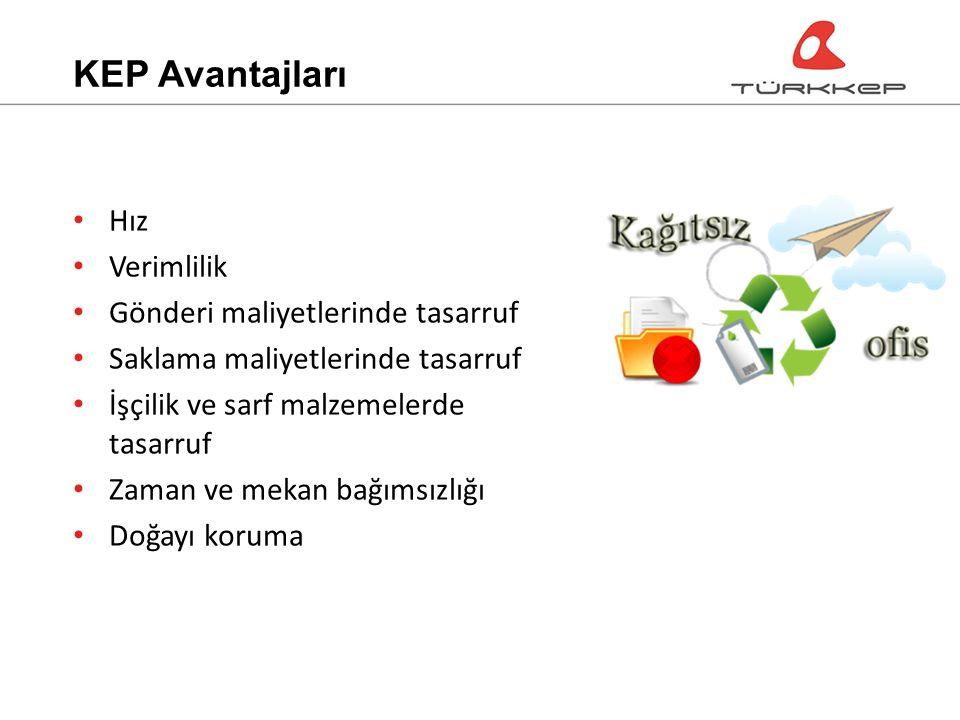KEP Avantajları Hız Verimlilik Gönderi maliyetlerinde tasarruf Saklama maliyetlerinde tasarruf İşçilik ve sarf malzemelerde tasarruf Zaman ve mekan bağımsızlığı Doğayı koruma