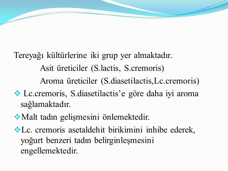 Tereyağı kültürlerine iki grup yer almaktadır. Asit üreticiler (S.lactis, S.cremoris) Aroma üreticiler (S.diasetilactis,Lc.cremoris)  Lc.cremoris, S.