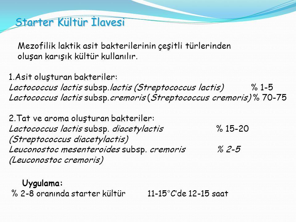 Starter Kültür İlavesi Mezofilik laktik asit bakterilerinin çeşitli türlerinden oluşan karışık kültür kullanılır.
