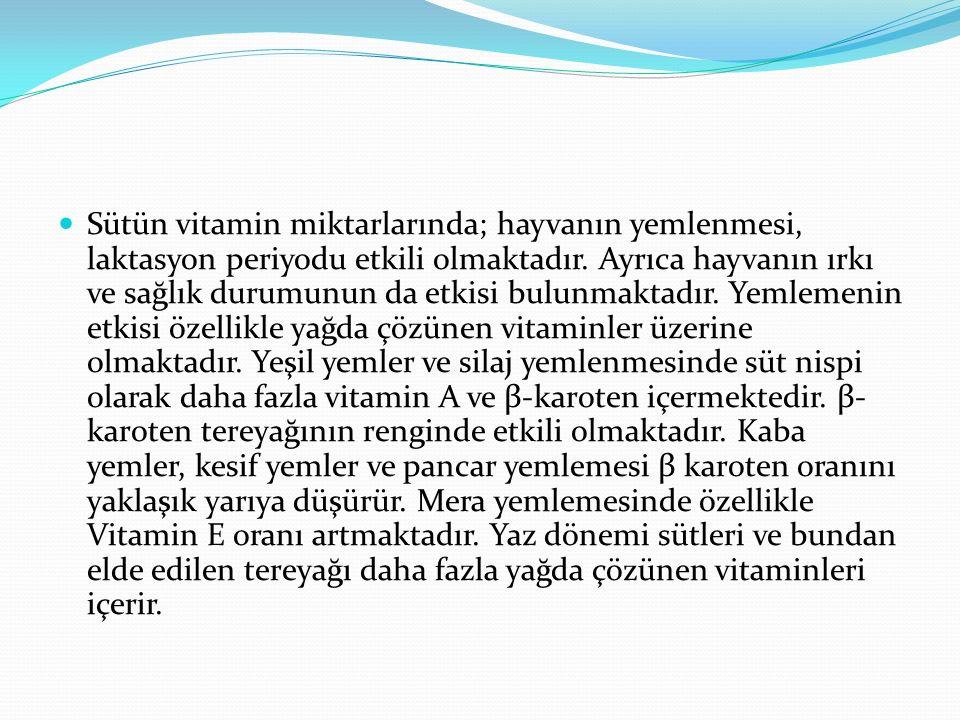 Sütün vitamin miktarlarında; hayvanın yemlenmesi, laktasyon periyodu etkili olmaktadır.
