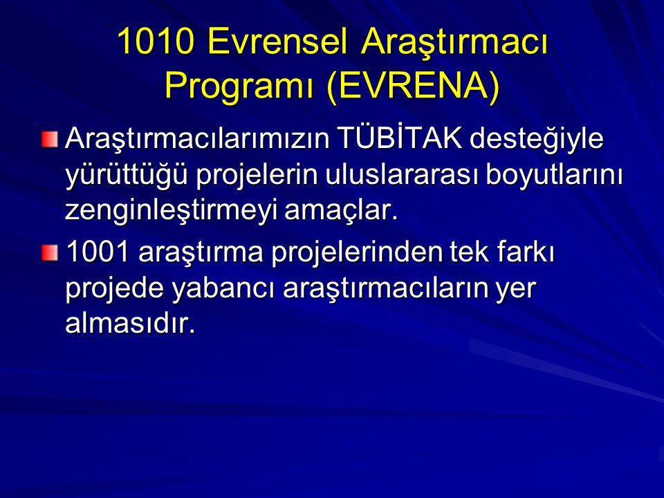 1010 Evrensel Araştırmacı Programı (EVRENA) Araştırmacılarımızın TÜBİTAK desteğiyle yürüttüğü projelerin uluslararası boyutlarını zenginleştirmeyi amaçlar.