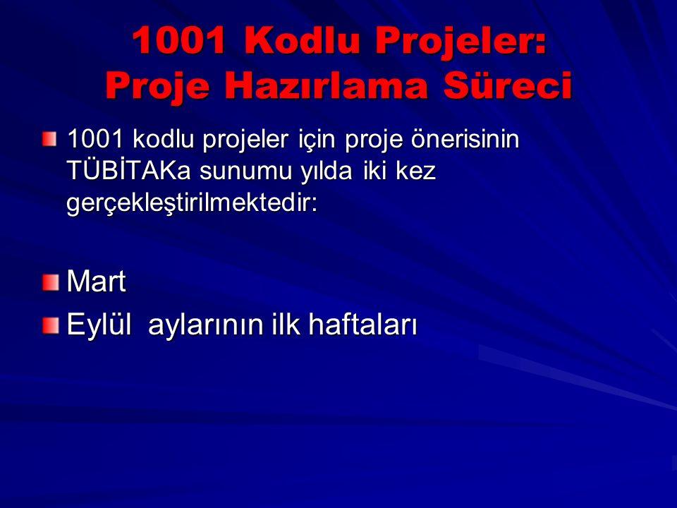 1001 Kodlu Projeler: Proje Hazırlama Süreci 1001 kodlu projeler için proje önerisinin TÜBİTAKa sunumu yılda iki kez gerçekleştirilmektedir: Mart Eylül aylarının ilk haftaları