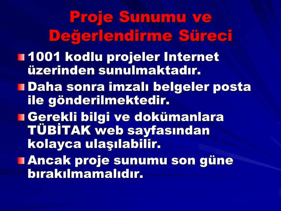 Proje Sunumu ve Değerlendirme Süreci 1001 kodlu projeler Internet üzerinden sunulmaktadır.
