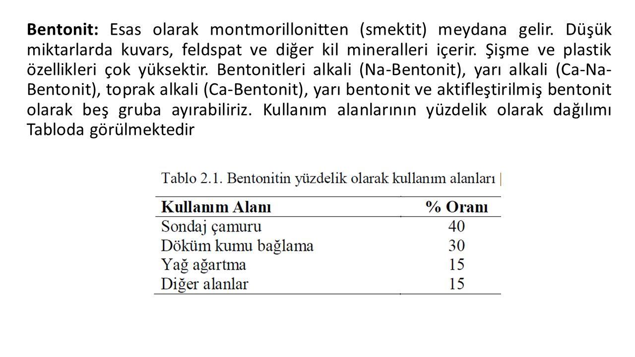 Bentonit: Esas olarak montmorillonitten (smektit) meydana gelir. Düşük miktarlarda kuvars, feldspat ve diğer kil mineralleri içerir. Şişme ve plastik