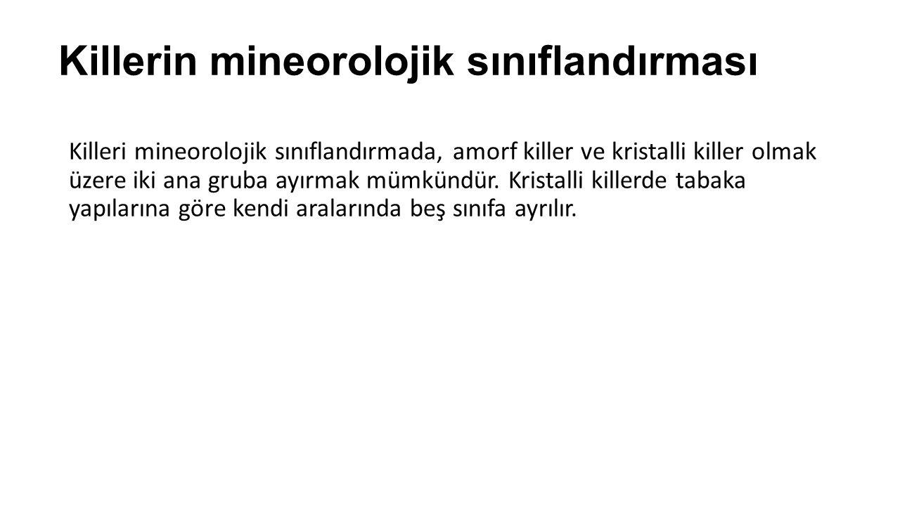 Tuğla, kiremit ve kalıp killeri: Kaolinit ve/veya illit ve/veya klorit ile bazen düşük oranlarda montmorillonit, kuvars, feldspat, kalsit, dolomit ve anatas'tan meydana gelir.