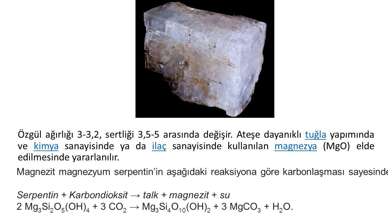 Magnezit magnezyum serpentin'in aşağıdaki reaksiyona göre karbonlaşması sayesinde oluşabilir. Serpentin + Karbondioksit → talk + magnezit + su 2 Mg 3