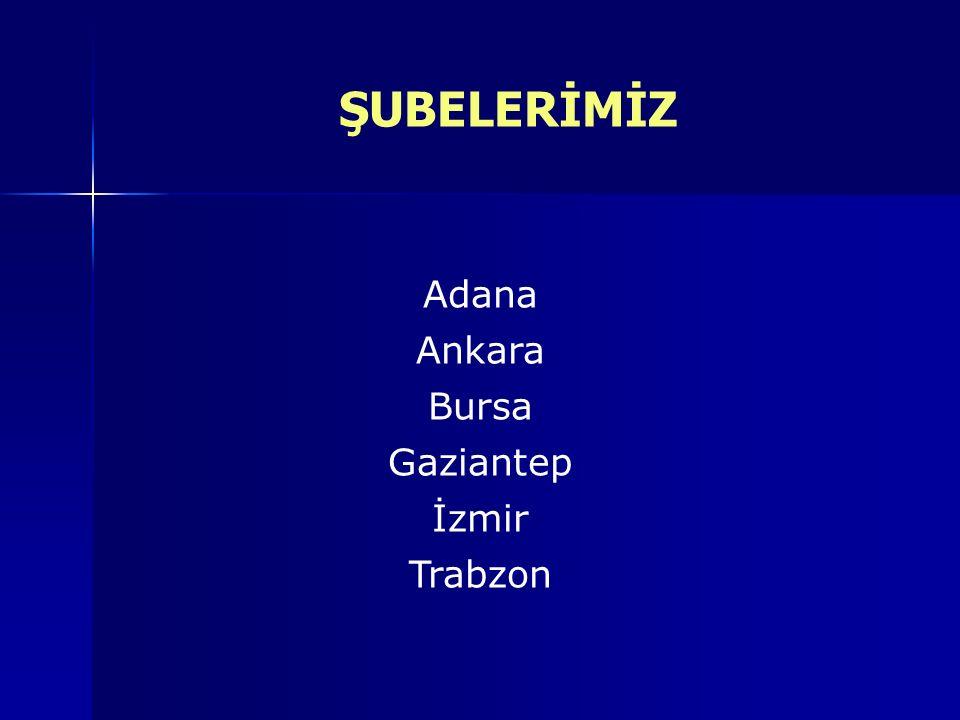 ŞUBELERİMİZ Bursa Ankara Adana Gaziantep İzmir Trabzon