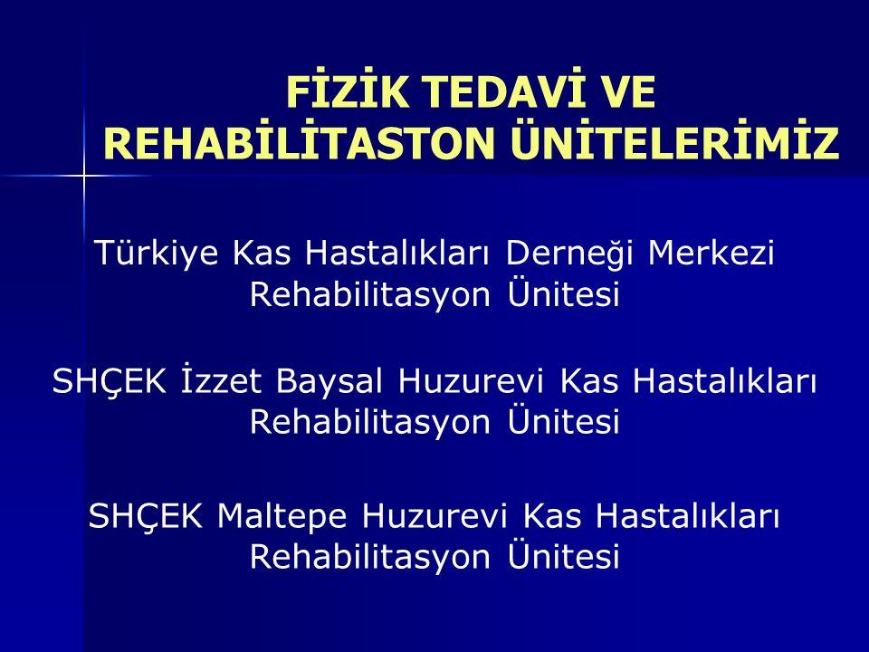 FİZİK TEDAVİ VE REHABİLİTASTON ÜNİTELERİMİZ SHÇEK İzzet Baysal Huzurevi Kas Hastalıkları Rehabilitasyon Ünitesi SHÇEK Maltepe Huzurevi Kas Hastalıkları Rehabilitasyon Ünitesi Türkiye Kas Hastalıkları Derne ğ i Merkezi Rehabilitasyon Ünitesi