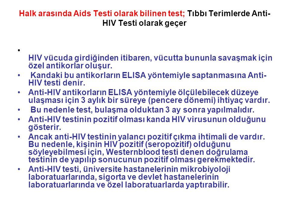 Halk arasında Aids Testi olarak bilinen test; Tıbbı Terimlerde Anti- HIV Testi olarak geçer HIV vücuda girdiğinden itibaren, vücutta bununla savaşmak için özel antikorlar oluşur.