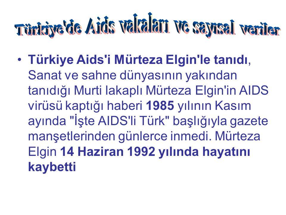 Türkiye Aids i Mürteza Elgin le tanıdı, Sanat ve sahne dünyasının yakından tanıdığı Murti lakaplı Mürteza Elgin in AIDS virüsü kaptığı haberi 1985 yılının Kasım ayında İşte AIDS li Türk başlığıyla gazete manşetlerinden günlerce inmedi.