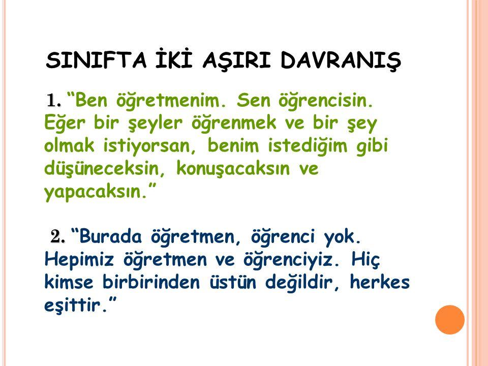 SINIFTA İKİ AŞIRI DAVRANIŞ 1. 2. 1. Ben öğretmenim.