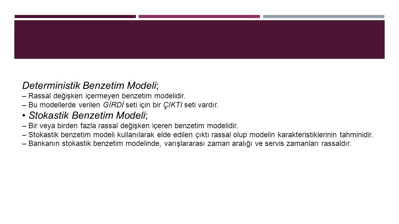 Deterministik Benzetim Modeli; – Rassal değişken içermeyen benzetim modelidir. – Bu modellerde verilen GİRDİ seti için bir ÇIKTI seti vardır. Stokasti