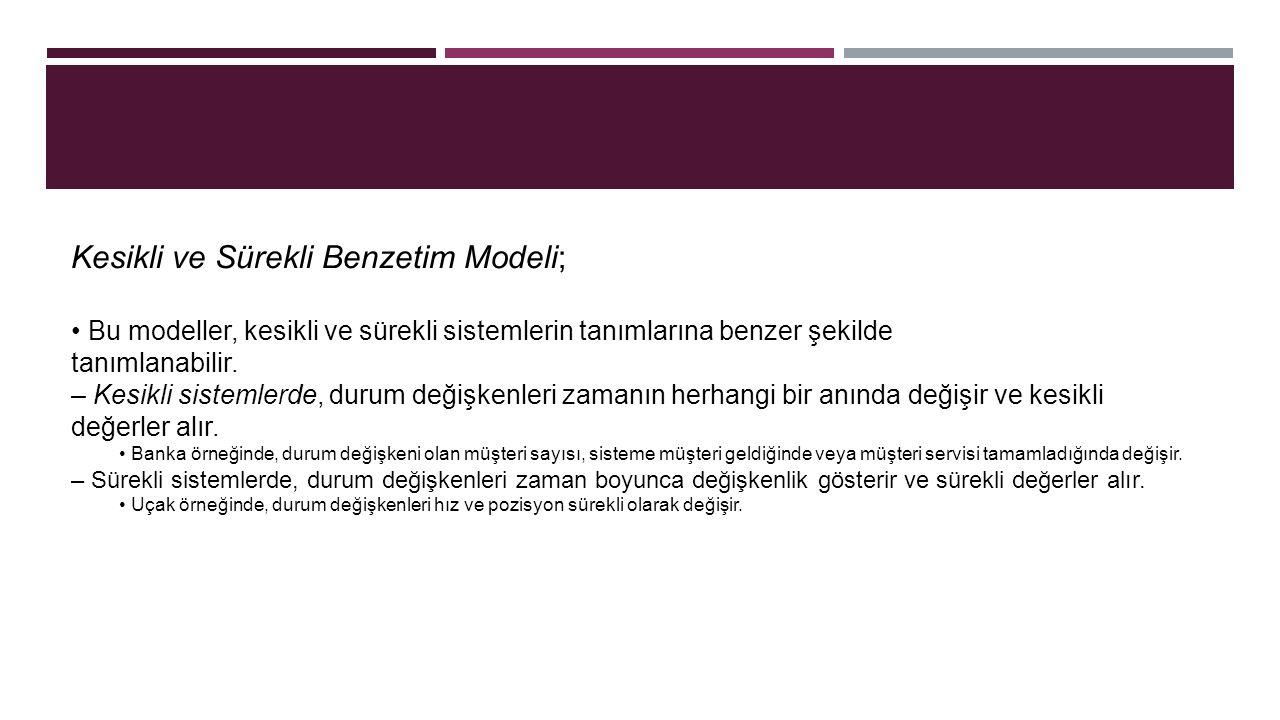 Kesikli ve Sürekli Benzetim Modeli; Bu modeller, kesikli ve sürekli sistemlerin tanımlarına benzer şekilde tanımlanabilir.