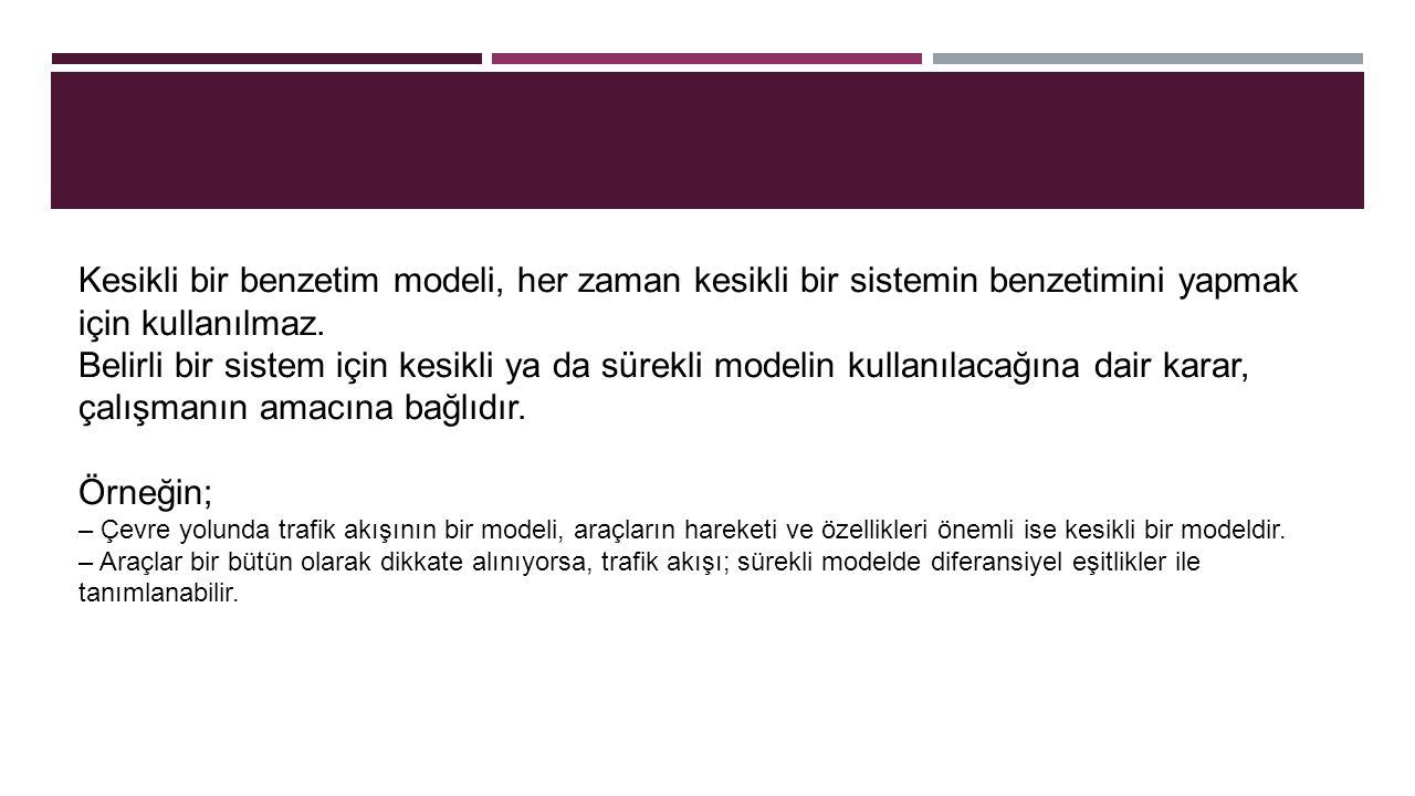 Kesikli bir benzetim modeli, her zaman kesikli bir sistemin benzetimini yapmak için kullanılmaz. Belirli bir sistem için kesikli ya da sürekli modelin