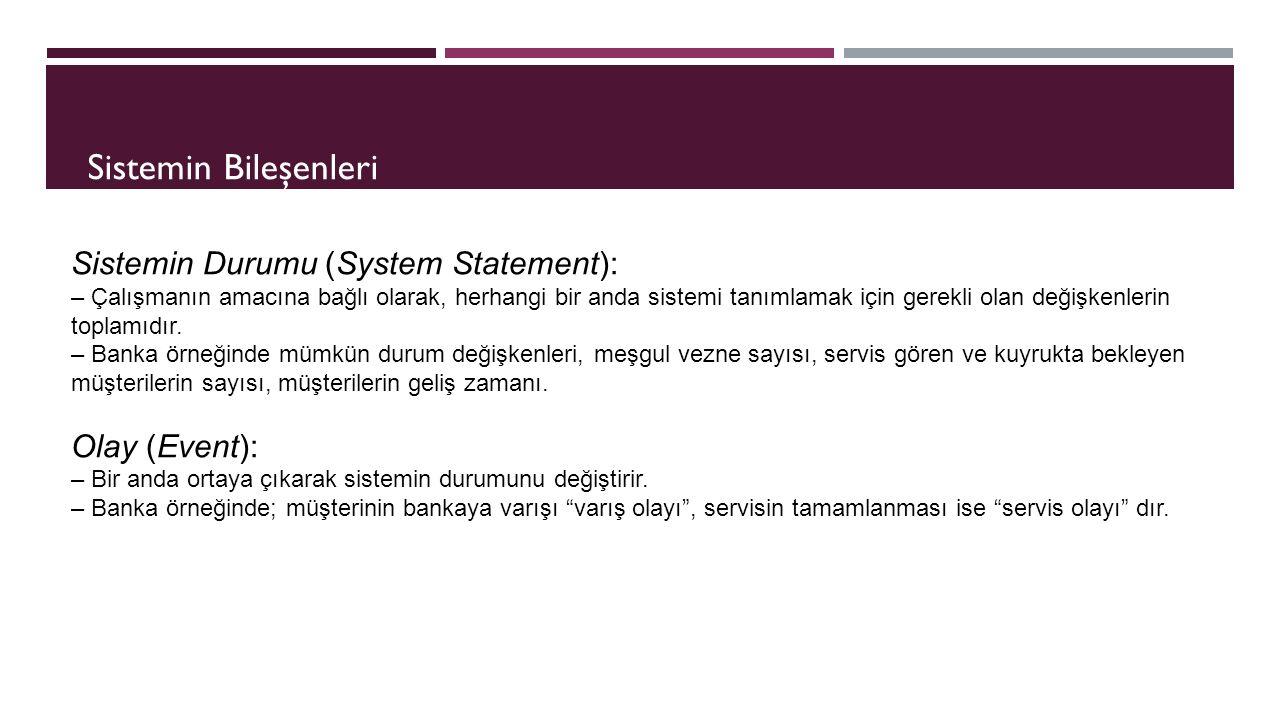 Sistemin Durumu (System Statement): – Çalışmanın amacına bağlı olarak, herhangi bir anda sistemi tanımlamak için gerekli olan değişkenlerin toplamıdır.