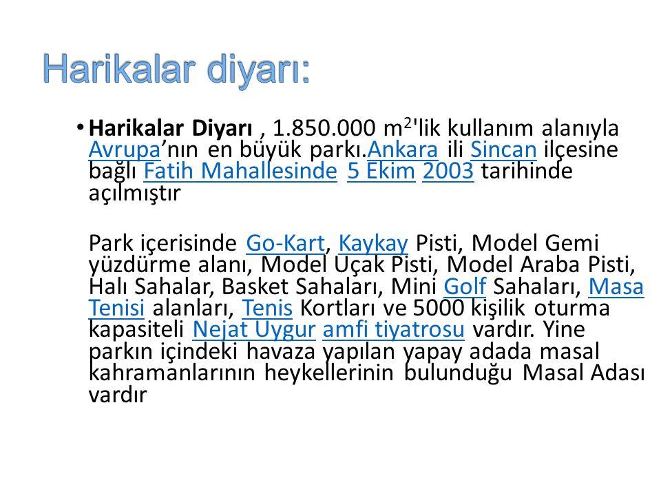 Harikalar Diyarı, 1.850.000 m 2 lik kullanım alanıyla Avrupa'nın en büyük parkı.Ankara ili Sincan ilçesine bağlı Fatih Mahallesinde 5 Ekim 2003 tarihinde açılmıştır AvrupaAnkaraSincanFatih Mahallesinde5 Ekim2003 Park içerisinde Go-Kart, Kaykay Pisti, Model Gemi yüzdürme alanı, Model Uçak Pisti, Model Araba Pisti, Halı Sahalar, Basket Sahaları, Mini Golf Sahaları, Masa Tenisi alanları, Tenis Kortları ve 5000 kişilik oturma kapasiteli Nejat Uygur amfi tiyatrosu vardır.