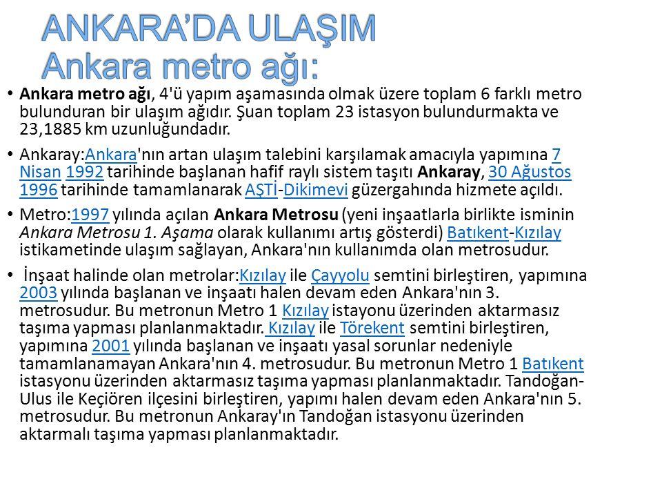 Ankara metro ağı, 4 ü yapım aşamasında olmak üzere toplam 6 farklı metro bulunduran bir ulaşım ağıdır.