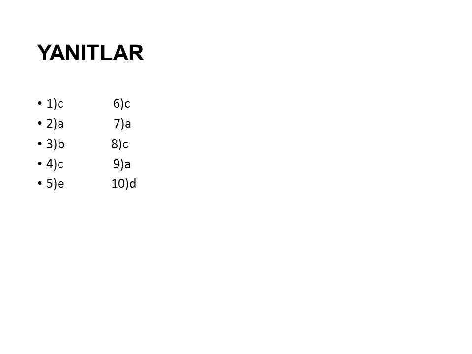 YANITLAR 1)c 6)c 2)a 7)a 3)b 8)c 4)c 9)a 5)e 10)d