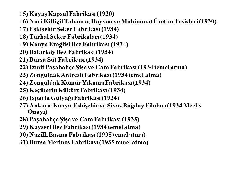 15) Kayaş Kapsul Fabrikası (1930) 16) Nuri Killigil Tabanca, Hayvan ve Muhimmat Üretim Tesisleri (1930) 17) Eskişehir Şeker Fabrikası (1934) 18) Turhal Şeker Fabrikaları (1934) 19) Konya Ereğlisi Bez Fabrikası (1934) 20) Bakırköy Bez Fabrikası (1934) 21) Bursa Süt Fabrikası (1934) 22) İzmit Paşabahçe Şişe ve Cam Fabrikası (1934 temel atma) 23) Zonguldak Antresit Fabrikası (1934 temel atma) 24) Zonguldak Kömür Yıkama Fabrikası (1934) 25) Keçiborlu Kükürt Fabrikası (1934) 26) Isparta Gülyağı Fabrikası (1934) 27) Ankara-Konya-Eskişehir ve Sivas Buğday Filoları (1934 Meclis Onayı) 28) Paşabahçe Şişe ve Cam Fabrikası (1935) 29) Kayseri Bez Fabrikası (1934 temel atma) 30) Nazilli Basma Fabrikası (1935 temel atma) 31) Bursa Merinos Fabrikası (1935 temel atma)