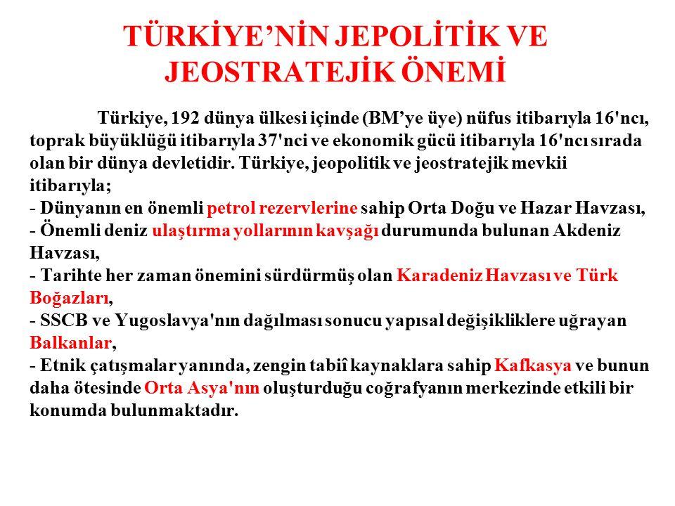 TÜRKİYE'NİN JEPOLİTİK VE JEOSTRATEJİK ÖNEMİ Türkiye, 192 dünya ülkesi içinde (BM'ye üye) nüfus itibarıyla 16 ncı, toprak büyüklüğü itibarıyla 37 nci ve ekonomik gücü itibarıyla 16 ncı sırada olan bir dünya devletidir.