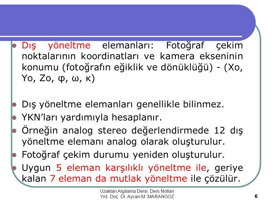 YER KONTROL NOKTALARI Fotogrametri II Ders Notları Yrd. Doç. Dr. Aycan M. MARANGOZ