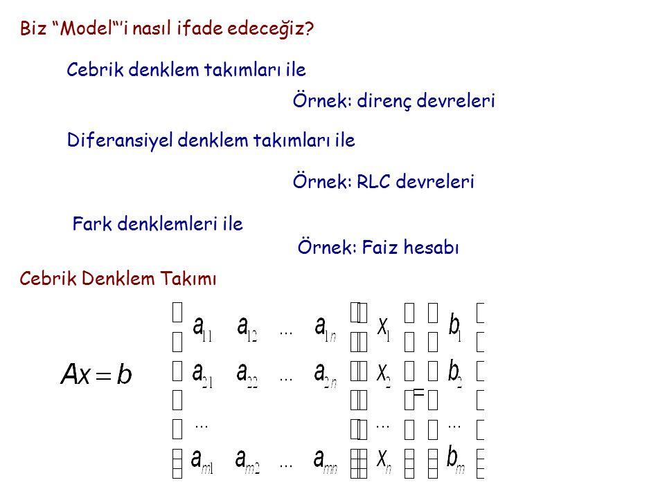 """Biz """"Model""""'i nasıl ifade edeceğiz? Cebrik denklem takımları ile Örnek: direnç devreleri Diferansiyel denklem takımları ile Örnek: RLC devreleri Fark"""