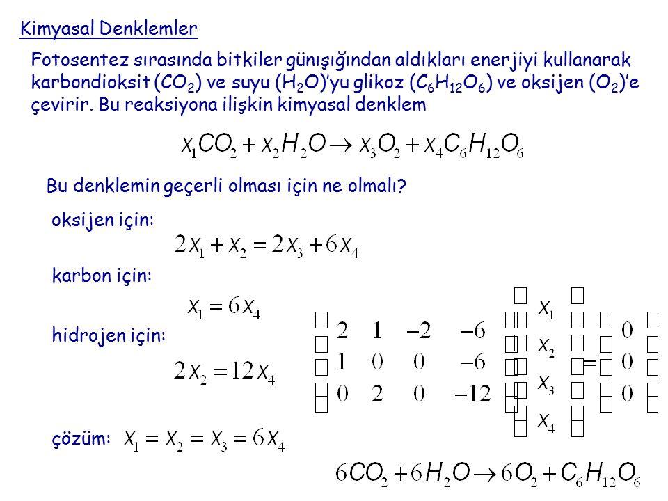 Kimyasal Denklemler Fotosentez sırasında bitkiler günışığından aldıkları enerjiyi kullanarak karbondioksit (CO 2 ) ve suyu (H 2 O)'yu glikoz (C 6 H 12