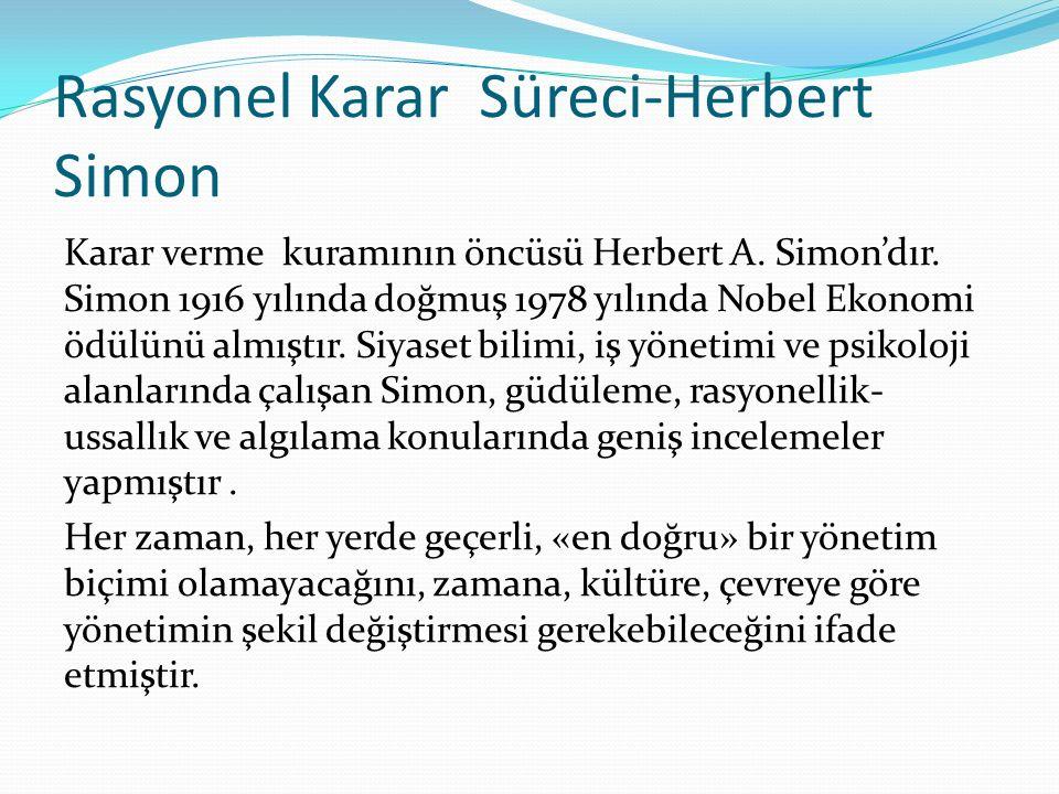 Rasyonel Karar Süreci-Herbert Simon Karar verme kuramının öncüsü Herbert A. Simon'dır. Simon 1916 yılında doğmuş 1978 yılında Nobel Ekonomi ödülünü al