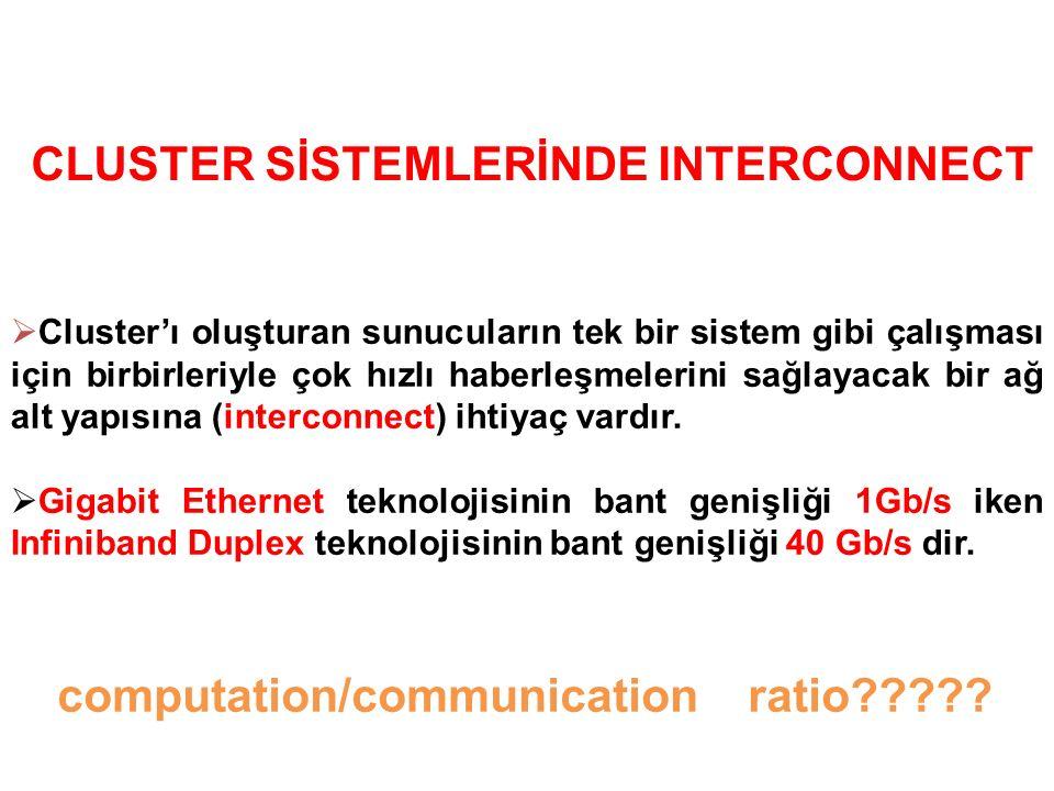  Cluster'ı oluşturan sunucuların tek bir sistem gibi çalışması için birbirleriyle çok hızlı haberleşmelerini sağlayacak bir ağ alt yapısına (interconnect) ihtiyaç vardır.