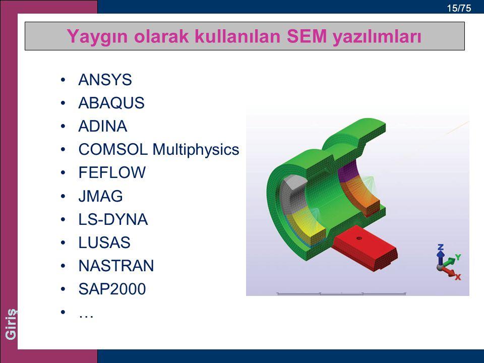 15/75 Giriş ANSYS ABAQUS ADINA COMSOL Multiphysics FEFLOW JMAG LS-DYNA LUSAS NASTRAN SAP2000 … Yaygın olarak kullanılan SEM yazılımları