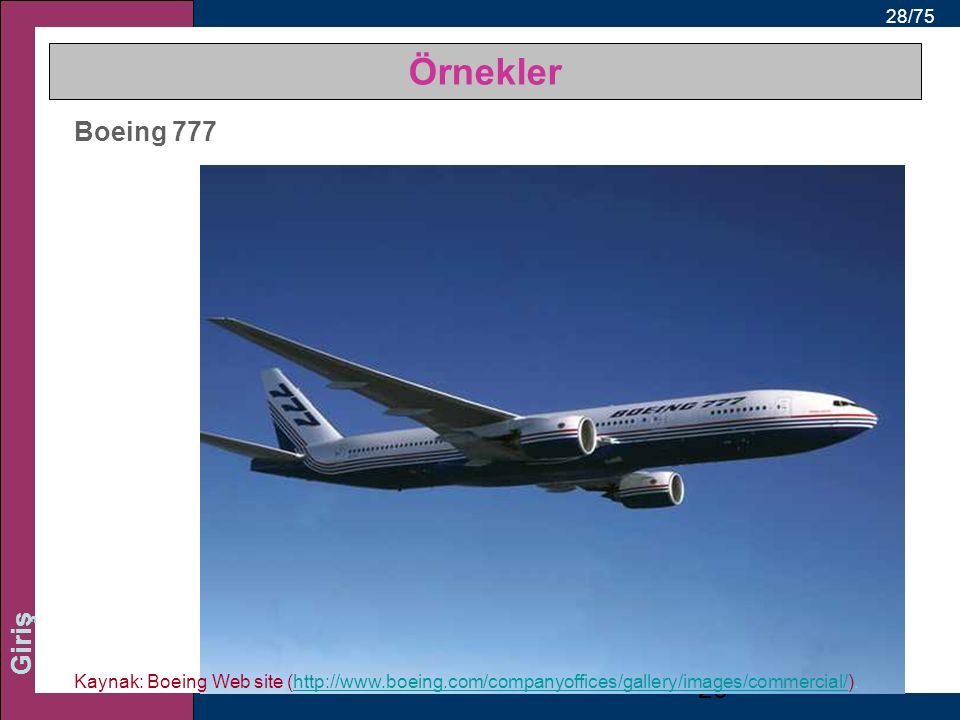 28/75 Giriş Boeing 777 28 Kaynak: Boeing Web site (http://www.boeing.com/companyoffices/gallery/images/commercial/).http://www.boeing.com/companyoffic