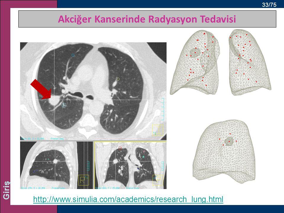 33/75 Giriş http://www.simulia.com/academics/research_lung.html Akciğer Kanserinde Radyasyon Tedavisi