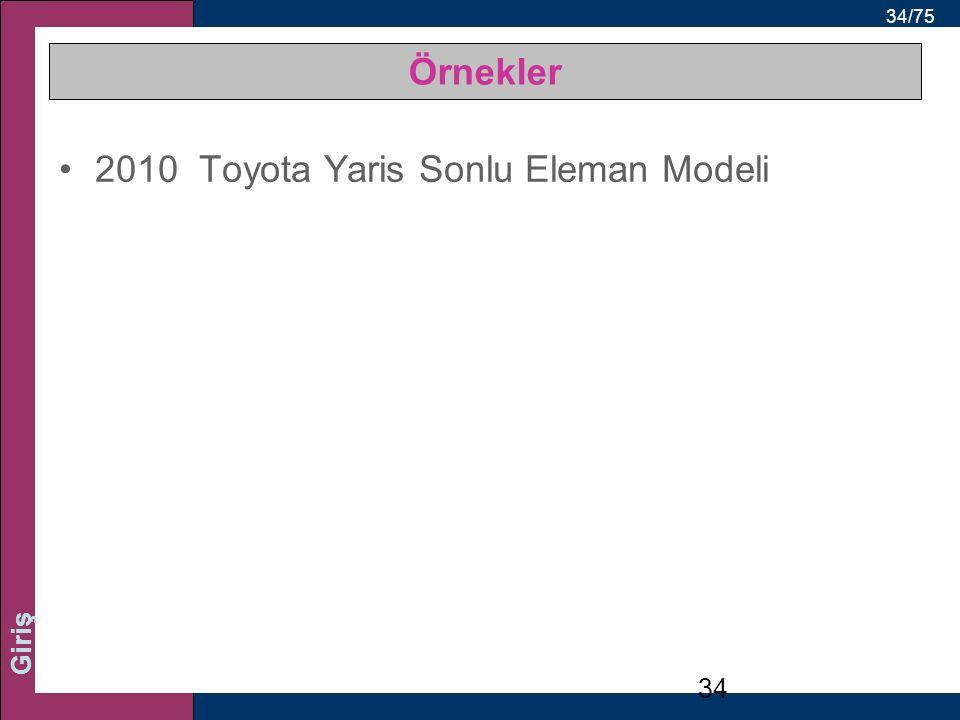 34/75 Giriş Örnekler 2010 Toyota Yaris Sonlu Eleman Modeli 34