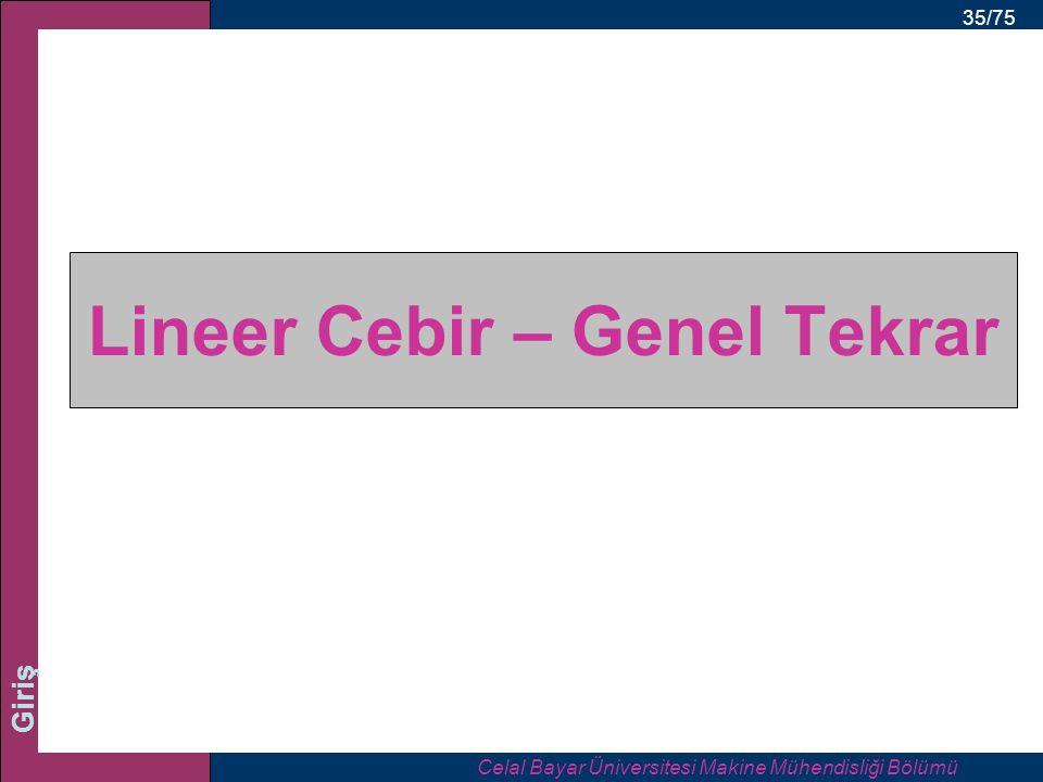 35/75 Giriş Lineer Cebir – Genel Tekrar Celal Bayar Üniversitesi Makine Mühendisliği Bölümü