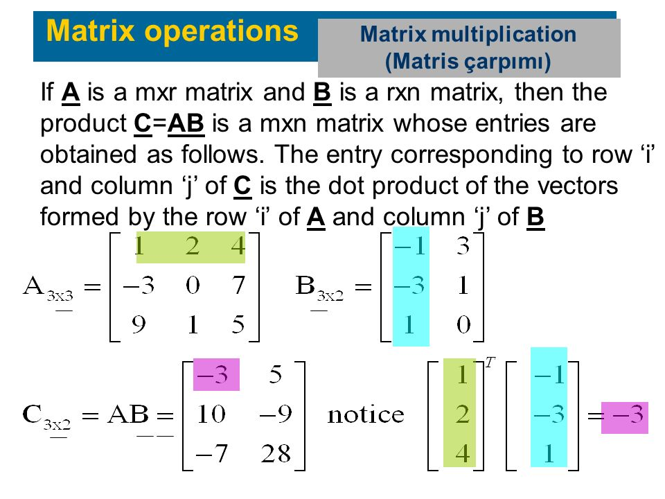 If A is a mxr matrix and B is a rxn matrix, then the product C=AB is a mxn matrix whose entries are obtained as follows. The entry corresponding to ro