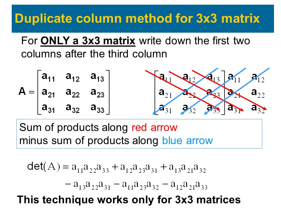 For ONLY a 3x3 matrix write down the first two columns after the third column Duplicate column method for 3x3 matrix Sum of products along red arrow minus sum of products along blue arrow This technique works only for 3x3 matrices