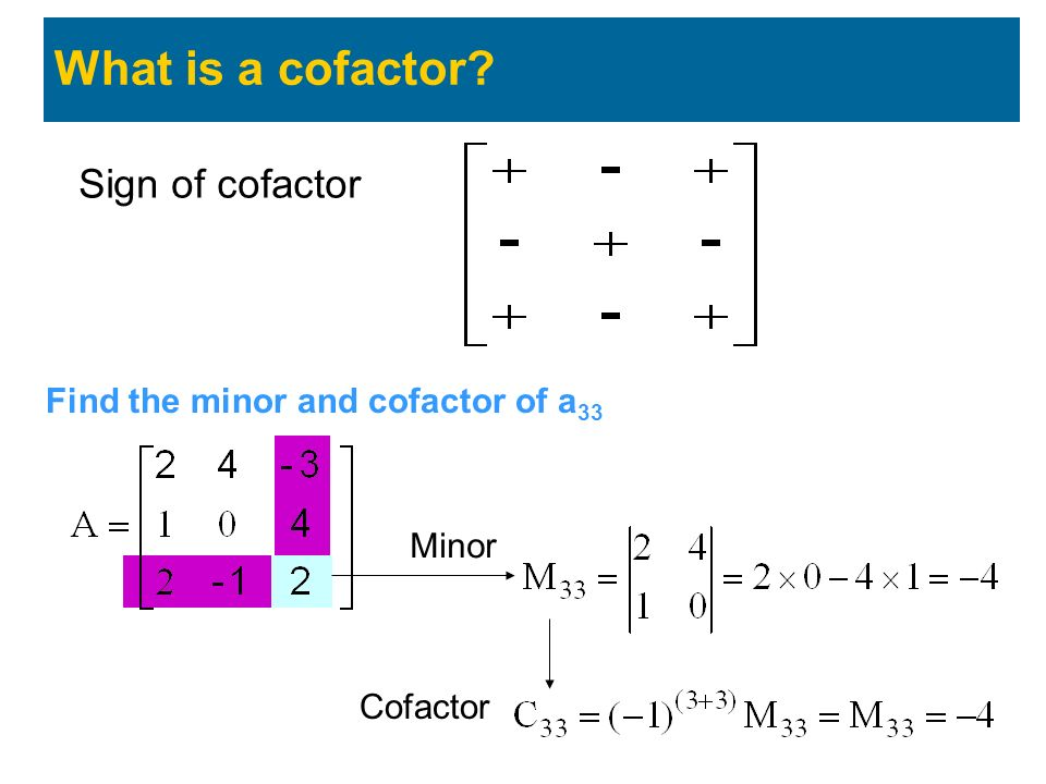 Sign of cofactor What is a cofactor? Find the minor and cofactor of a 33 Minor Cofactor