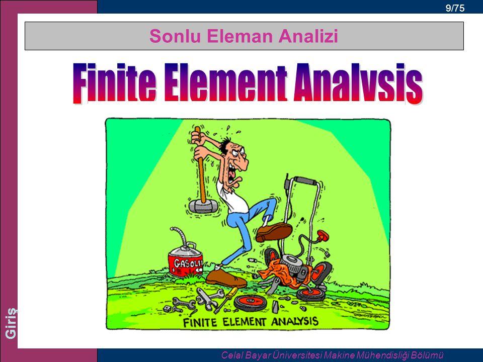 9/75 Giriş Sonlu Eleman Analizi Celal Bayar Üniversitesi Makine Mühendisliği Bölümü